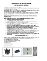 INSTALLATION INSTRUCTIONS PROJECTOR LIFT SI-H 500